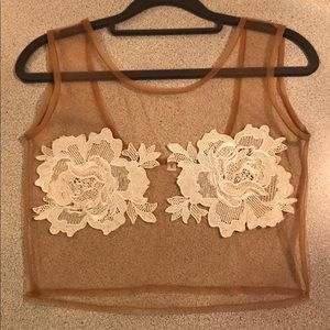 Tops - Sheer Nude Crop Top With White Lace Flowers